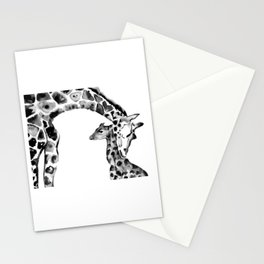 Black and white giraffes Stationery Cards