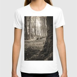 Moss Covered Tree Stump Hiking Path Forest sepia T-shirt