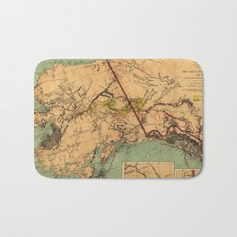 Vintage Map of Gold and Coal in Alaska (1898) Bath Mat