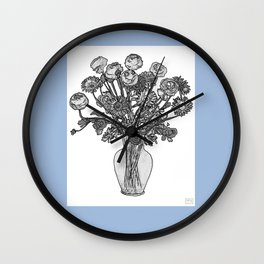 Spring Flowers in Vase on Robin's Egg Blue Background Wall Clock