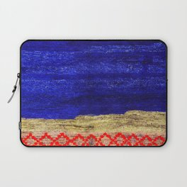 V24 New Blue Calm Traditional Moroccan Carpet Texture. Laptop Sleeve