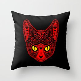 Red Day of the Dead Sugar Skull Cat Throw Pillow