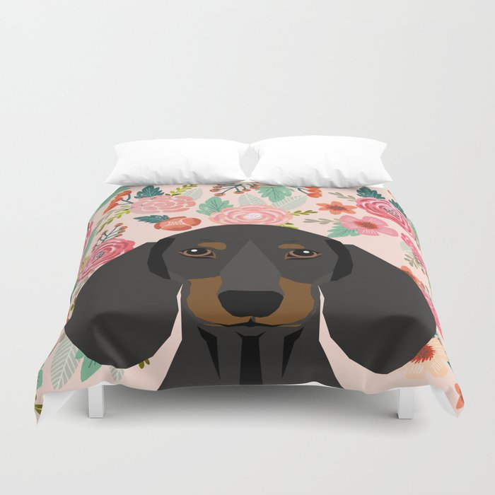 Dachshund florals cute pet gifts black and tan dachshund gifts for dog lover with weener dog Duvet Cover by petfriendly | Society6