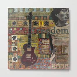 Freedom Girl  with Guitar Metal Print