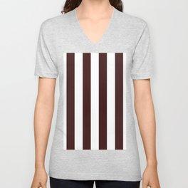 Vertical Stripes - White and Dark Sienna Brown Unisex V-Neck