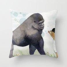 Hug me , Mr. Gorilla Throw Pillow