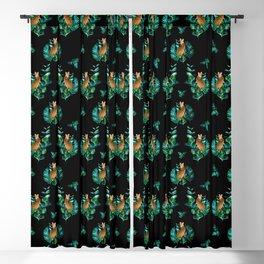 Tropical Leaf Clouded Leopard Pattern Black BG Blackout Curtain