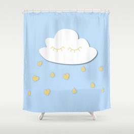 Cloudy with a chance of hears Shower Curtain
