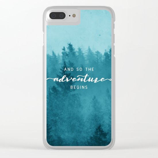 And So The Adventure Begins - Turquoise Forest Clear iPhone Case