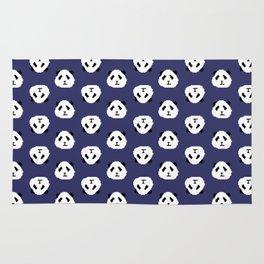Blue Pixel Panda Pattern Rug