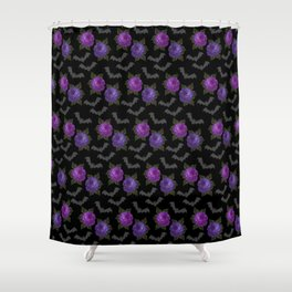 Bats and roses, Gothic, Gothic fan Shower Curtain