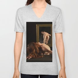 7823-AK Woman Viewing Herself in Mirror Fine Art Nude Unisex V-Neck