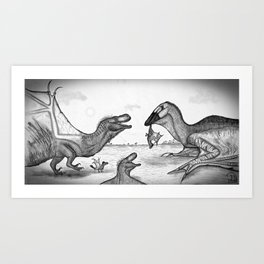 Dinolongia Confrontation Art Print