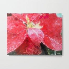 Mottled Red Poinsettia 2 Watercolor Metal Print