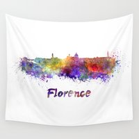 florence Wall Tapestries featuring Florence skyline in watercolor by Paulrommer
