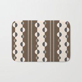 Geometric Circles and Stripes in Brown and Tan Bath Mat