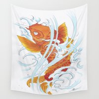 koi fish Wall Tapestries featuring Koi Fish by Isotta Pavarin