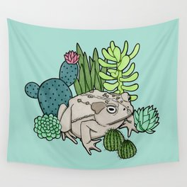 Toad with Succulents - Turquoise Wall Tapestry