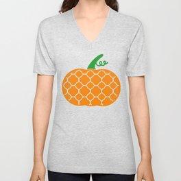 Patterned Pumpkin Unisex V-Neck