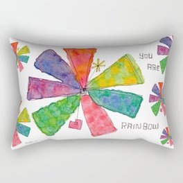 You Are Rainbow flower illustration floral pattern self-love pride Rectangular Pillow