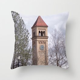 Beautiful Old Clock Tower In Spokane, Washington, Vintage Train Station Clock Tower Throw Pillow