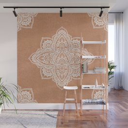 Modern boho terracotta floral mandala oriental pattern Wall Mural