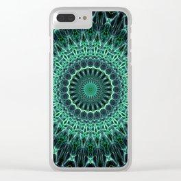 Mandala in green glowing tones Clear iPhone Case