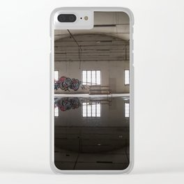 Interior of an abandoned factory Clear iPhone Case