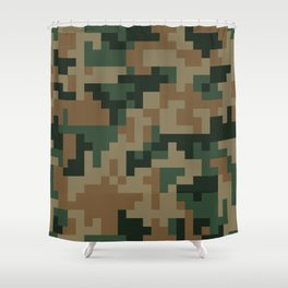 Green and Brown Pixel Camo pattern Shower Curtain