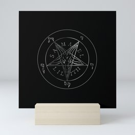 Wiccan symbol silver Sigil of Baphomet- Satanic god occult symbol Mini Art Print