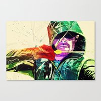 green arrow Canvas Prints featuring Green Arrow, Arrow by iamcrime