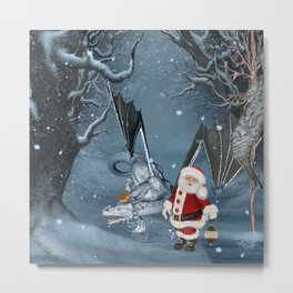 Santa Claus with ice dragon in a winter landscape Metal Print