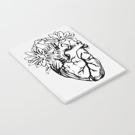 Floral Mexican Heart - black and white Notebook