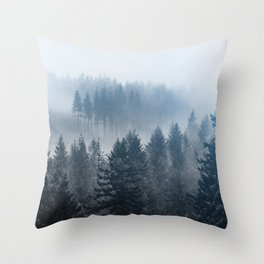 Forest Fog Mountain - Wanderlust Nature Photography Throw Pillow