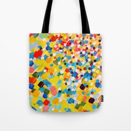 SWEPT AWAY 2 - Vibrant Colorful Rainbow Mango Yellow Waves Mermaid Splash Abstract Acrylic Painting Tote Bag