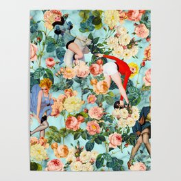 Floral and Pin Up Girls II Pattern Poster