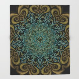 Teal and Gold Mandala Swirl Throw Blanket