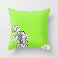 dangan ronpa Throw Pillows featuring kuzuryuu by Mottinthepot