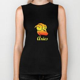 Aries Fire Sign Graphic Zodiac Birthday Gift Idea Horoscope Design Biker Tank