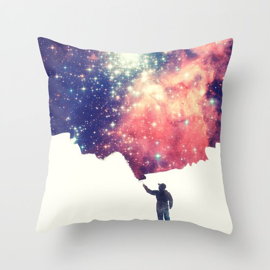 Painting the universe Throw Pillow