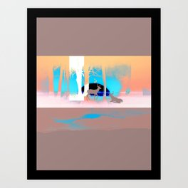 Sunset in forest Art Print