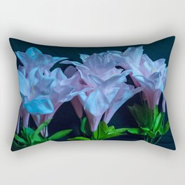 pink and blue flowers on black Rectangular Pillow