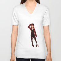 selfie V-neck T-shirts featuring Selfie by Lenore2411