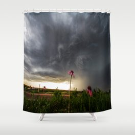 Stay Strong - Flowers Brace for Incoming Storm in Kansas Shower Curtain