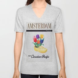 Amsterdam - Vintage Canadian Pacific Travel Poster Unisex V-Neck