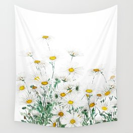 white margaret daisy horizontal watercolor painting Wall Tapestry