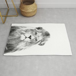 Black and white lion animal portrait Rug