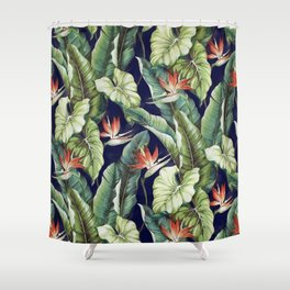Night tropical garden II Shower Curtain