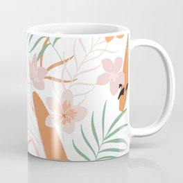 Minimalistic Tropical Blush Leaves Aloha Pattern Coffee Mug