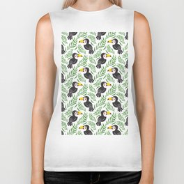 Watercolor green black yellow toucan bird floral Biker Tank
